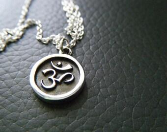 Sterling silver ohm necklace Om dainty necklace Yoga jewelry Ohm jewelry Ohm pendant Sterling jewelry Om coin necklace Minimalist jewelry