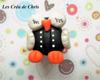 OWL in polymer clay character costume.