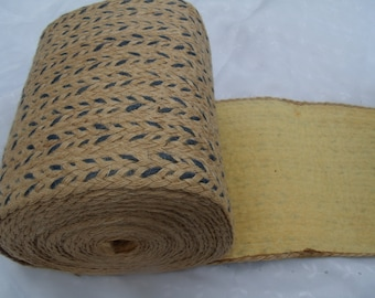 Vintage Twine Thick Burlap Fabric Roll Blue