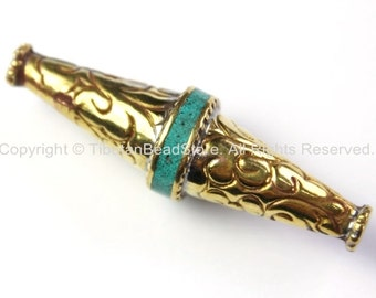 Long Repousse Brass Floral Bicone Tibetan Bead with Turquoise Inlay - 1 Bead - Unique Ethnic Tibetan Beads - B2425