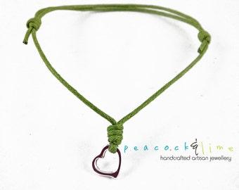 Heart Wish bracelet // green waxed cotton // silver plated heart charm wish friendship bracelet // handmade // ready to ship