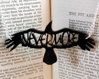 Raven Necklace - Raven Jewelry - Gothic Jewelry - Edgar Allan Poe Jewelry - Nevermore - Jewelry Literary Jewelry
