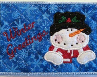 Machine Embroidery Design-ITH-Mug Rug-Applique Snowman with 2 sizes, 5x7 and 6x10 hoops