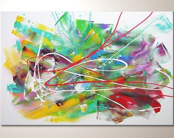 "Original modern art painting ""Playing colors"" , abstract contemporary artwork, wall decoration,picture"