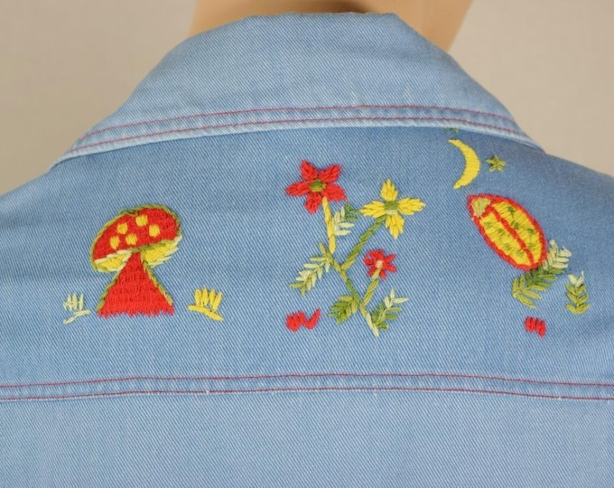 Vintage 1970's Men's Campus Expressions Mushroom Embroidered Denim HiPPiE Jacket M L