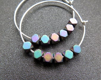rainbow hematite hoops. sterling silver hoop earrings. geometric jewelry.