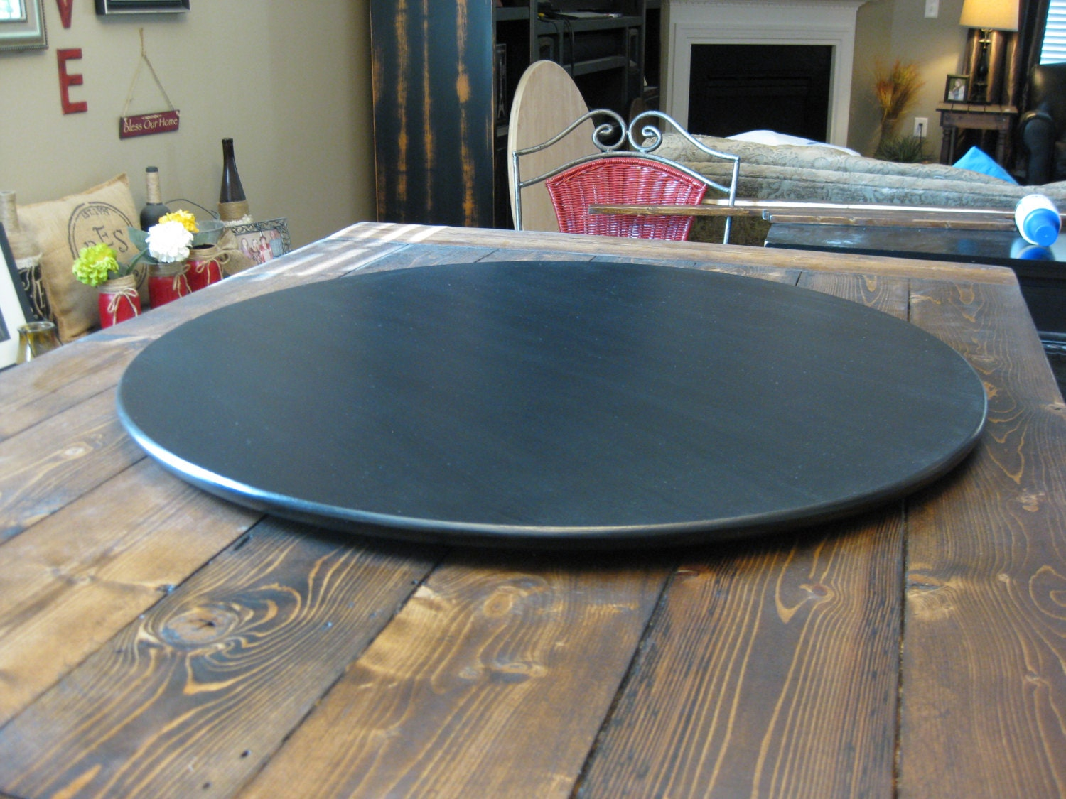 Ultra Thin Low Profile Wood Lazy Susan For Dining Table Or