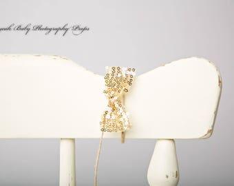 Sequin Bow Tieback - Gold, pretty photography prop, newborn, babies, photo shoot