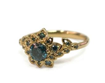 Diamond Art Deco Petal Engagement Ring - 18K Gold and Blue Diamond engagement ring, leaf ring, flower ring, Fancy Diamond, vintage, 2B