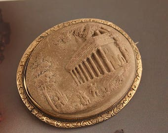 Antique Victorian Grand Tour LAVA CAMEO with Classical Architecture and People