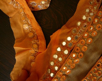 Indian Sari trim, sequined boarder on chiffon, orange silver gold taupe