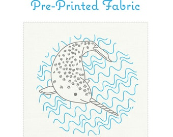 NARLY NARWHAL pre-printed embroidery fabric, hand embroidery, narwhal embroidery, modern embroidery design by StudioMME
