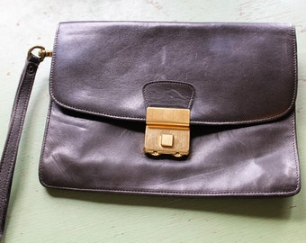 Vintage BELLA SOFT Dark Brown Lambskin Leather Clutch Purse with Combination Lock, Germany