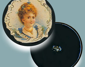 Button--Large Late 19th C. Decoupage On Papier Mache Pretty Red Haired Lady