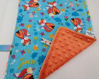 Fox Lovie, Fox Blankie, Woodland Blankie, Woodland Baby Shower, Baby Security Blanket, Fox Baby Shower, Gender Neutral Lovie, Woodland Lovie