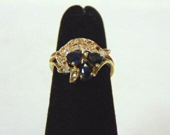 Womens Vintage Estate 14K Yellow Gold w/ Blue Sapphire & Diamonds 2.1g #E2986