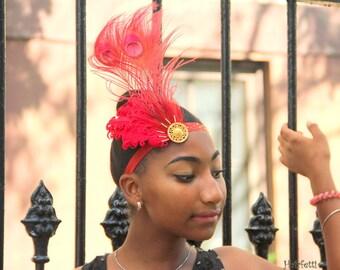 Firebird headband, red flapper headband, Gatsby headpiece, 1920s headpiece, phoenix costume headpiece, firebird costume, firebird hairpiece