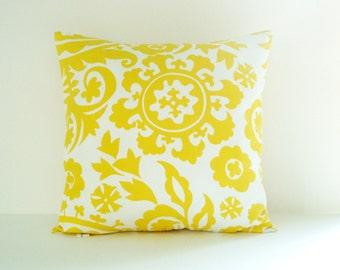 Yellow Pillow Cover Suzani Pillow Decorative Pillow Size Choice Throw Pillow Accent Pillow