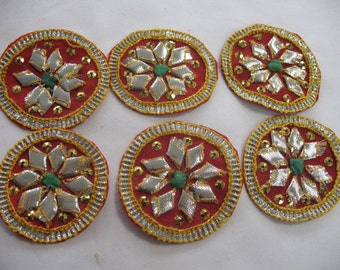 6 Beaded Applique  Gold and SILVER - Embroidered on burgundy fabric