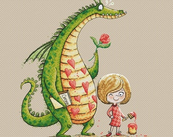 Little girl with her friend Dragon pdf counted cross stitch pattern Fantasy instant download pdf pattern Dragon and girl cross stitch chart