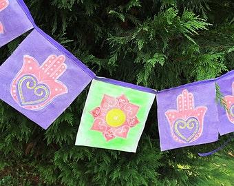 Hand Painted Prayer Flags Zen Mudra Meditation Spiritual Garden Art Yoga Namaste