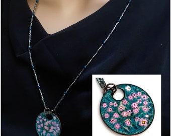 Enameled Pendant, Art Jewelry, Copper Enamel, Pink Flowers on Dark Teal, Long Beaded Chain, Bright Garden, Kiln Fired Vitreous Enamel