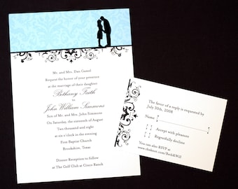 Wedding Invitation with Custom Silhouette - Print at Home
