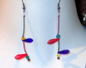 Tina, unmatched earrings, red, blue, green, purple, amber sculptural, geometric,textured,steampunk,   contemporary, handmade