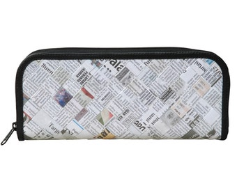 Long pencil case made of newspaper, FREE SHIPPING, Pencil pouch, pencil holder , pencil crayon pouch, zipper pencil case pcycled recycled