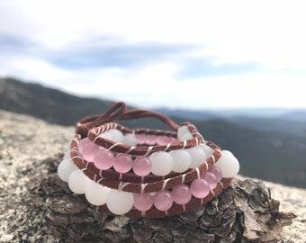 White &Pink Moonstone Wrap Bracelet