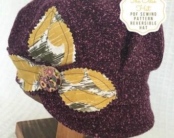 Hat Sewing Pattern, The Ellie Hat, Reversible Hat Instant Download PDF Sewing Pattern, Women's hat pattern, Newsboy, Pageboy