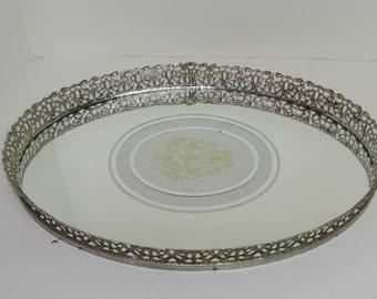 Vintage Vanity Tray Mirrored Tray Filigree Tray Mirrored Tray  Tray Purfume Tray MCM Tray  Ornate Table Top Vanity Tray Art Deco Tray