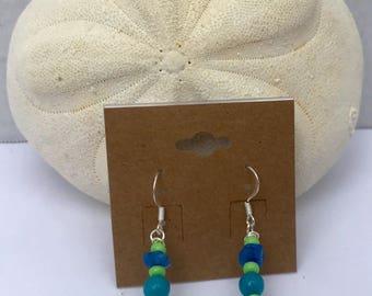 Silver Green & Blue Earrings