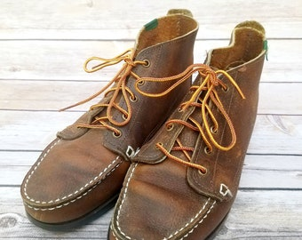 Vintage 1990s Bass dark brown leather moccasin ankle boots