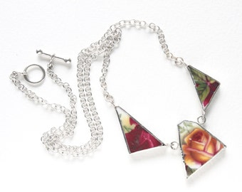 Unusual Necklace, Broken China Jewellery, China Jewelry, Shard Necklace, China Necklace, Rose Necklace, Old Country Roses, Unique Necklace