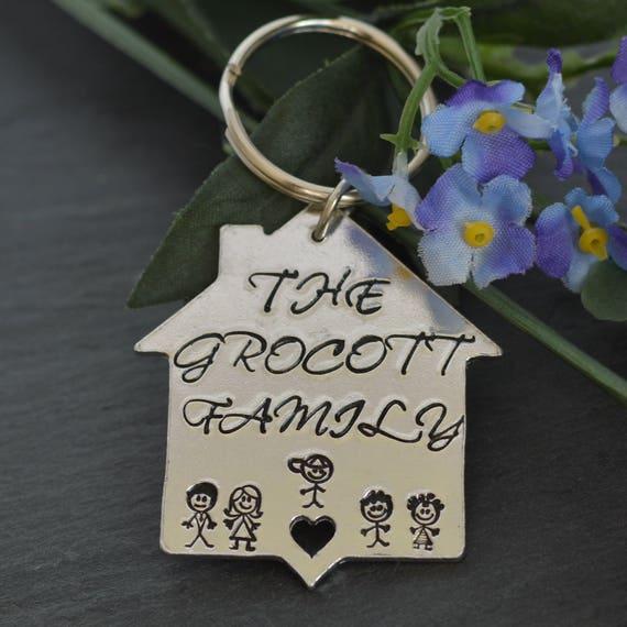 Famiglia keyring nuova casa regalo nuova casa portachiavi - Regalo casa nuova ...