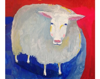 Baaaa said the sheep ... giclee art print • animal • hand lettering • knitter • lamb • portrait • modern • reproduction • wool • humor •