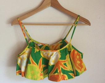 Vintage 60s Tropical print crop top bralette- Size Small - summer