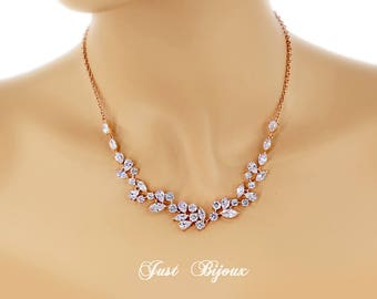 Wedding Necklace Rose gold plated Zirconia Necklace Bridesmaid Gift Best Friend Bridesmaid necklace Bridal Necklace CZ Necklace leaf