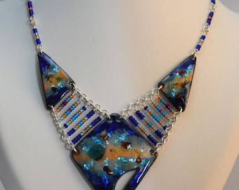 Blue enamel necklace with silver foil threads