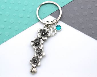 Flowers Personalised Keychain, Gardening Florist Keyring, Personalized Birthstone & Initial, Letter, Alphabet Gift