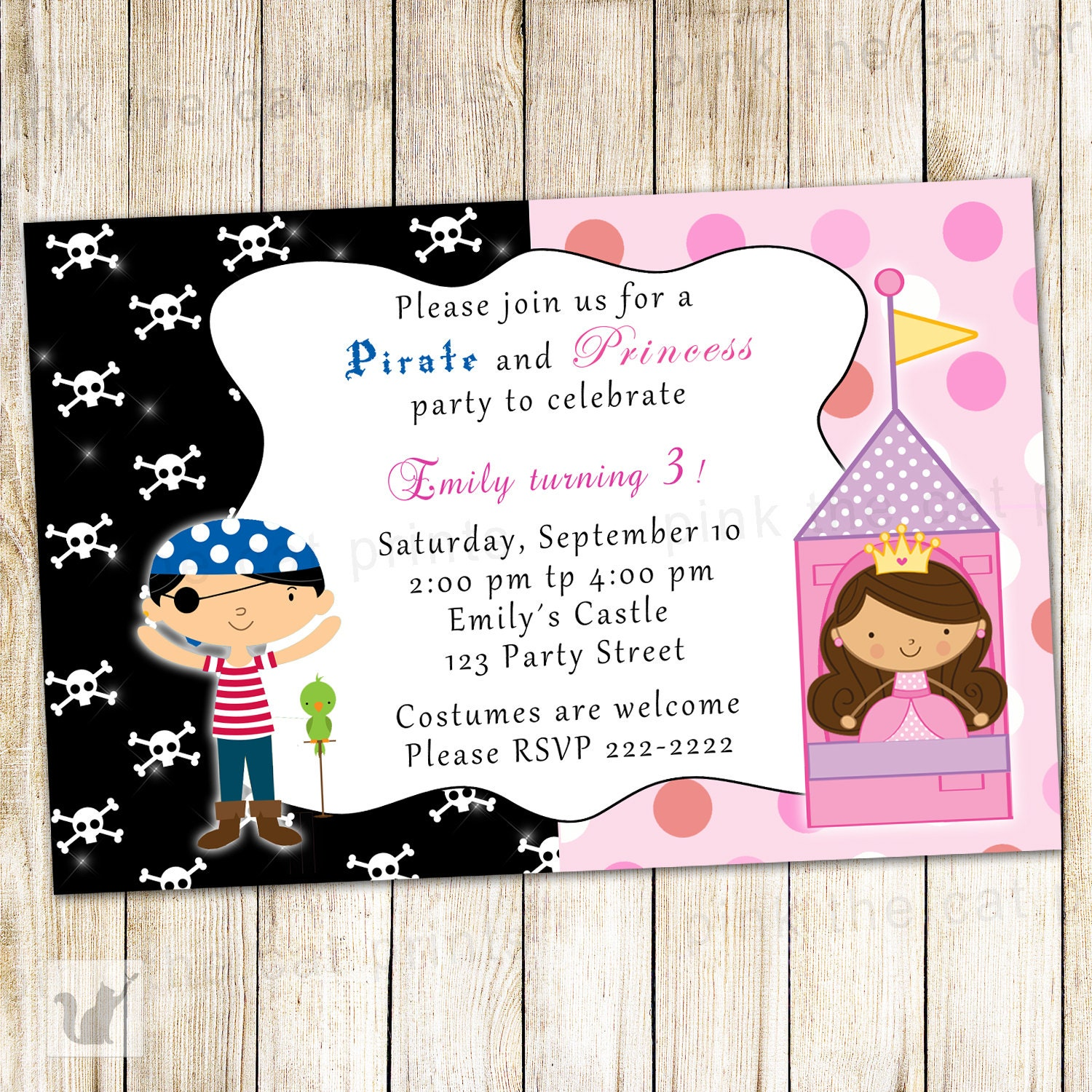 Pirate Princess Birthday Invitation Card Kids Party Invite