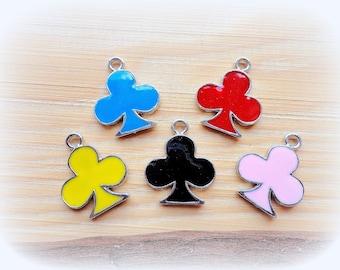 Enamel Club Charms, Enamel 20 x 15 mm charms, bright colors charms, supplies, Set of 5 charms