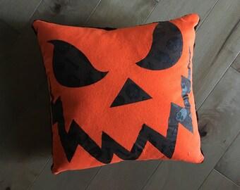 Halloween Pumpkin Upcycled T-Shirt Pillow (16x16)