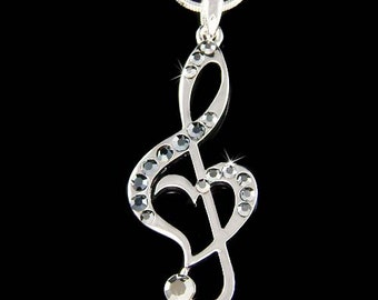 Black Swarovski Crystal TREBLE G CLEF Love Music Musical Note Heart Pendant Necklace Cute Musican Best Friend Christmas Jewelry Gift New