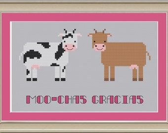 Moo-chas gracias: funny cow cross-stitch pattern
