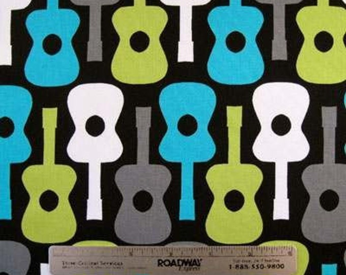 Michael Miller GROOVY GUITARS Lagoon Black Grey Lime White Quilt Fabric Guitar - Remnants in Assorted Sizes as Listed