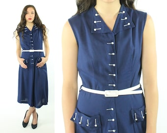 40's Sleeveless Linen Dress Navy Blue White Collared Shirt Waist Dress Big Pockets Vintage 1940s Medium M Brentwood Pinup Rockbilly