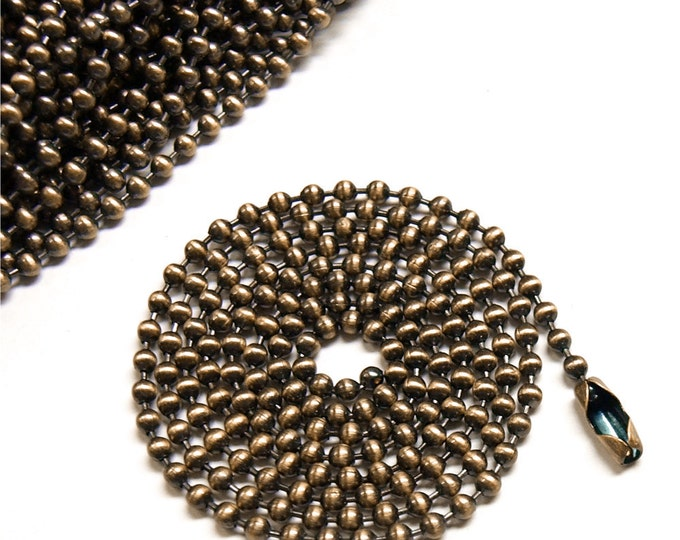 CLOSEOUT - Necklace Chain, Ball 2.4mm, 24 Inch, Antique Copper - 5 Chains (NKBAC-BL2424)