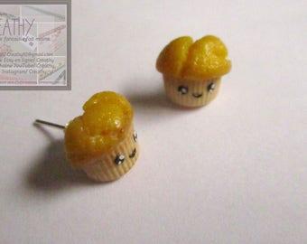 Bullet earrings. Lemon cupcake polymer clay